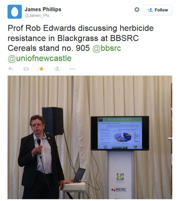 Prof Rob Edwards discussing herbicide resistance at the stakeholder meeting