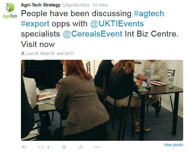 Agri-tech specialists discussing export opportunities at Cereals 2015